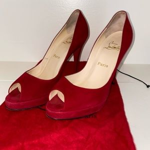 Christian Louboutin open-toed red suede pumps